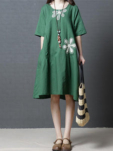Linen Cotton Short Sleeve Loose Pockets Dress