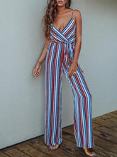 Load image into Gallery viewer, Stripe Spaghetti Strap Wide Leg Pants Beach Jumpsuit