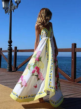 Load image into Gallery viewer, Bohemian Long Print V-Neck Halter Dress