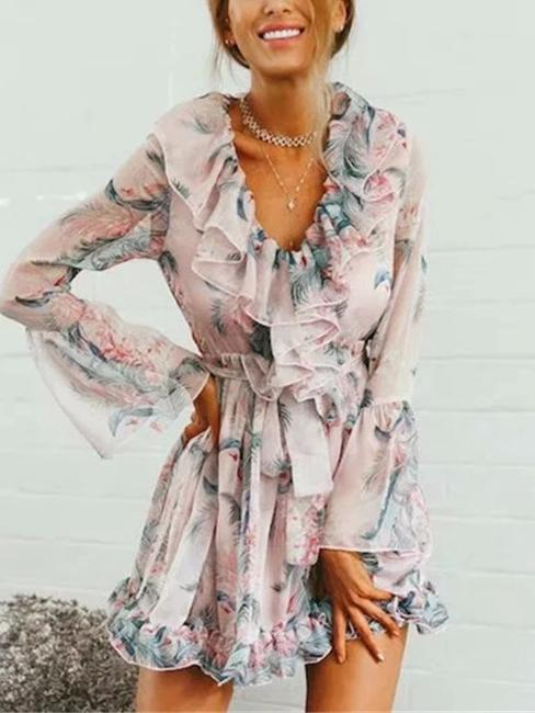 Print V Neck Long Sleeve Beach Mini Dress
