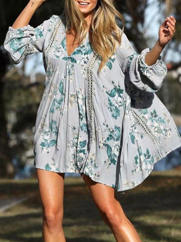 Floral V Neck Puff Sleeve Mini Dress