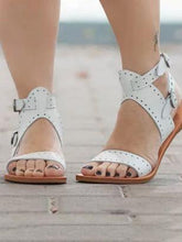 Load image into Gallery viewer, Solid Color Casual Open Toe Flat Sandals Shoes