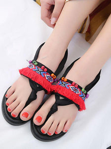 Bohemian Tasseled Flat Heel Sandals Clip Toe  Shoes