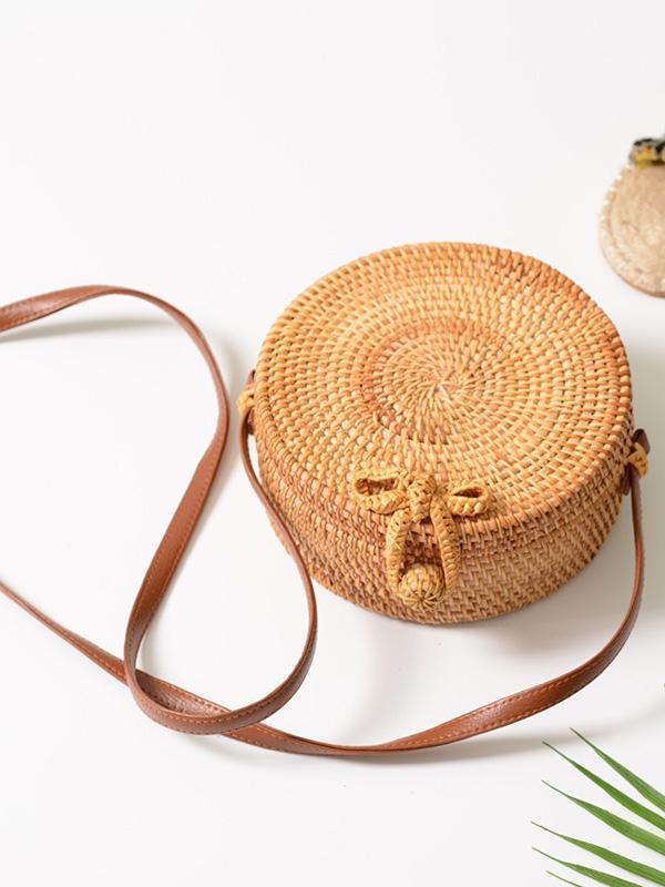 Round Rattan Butterfly Forest Handmade Bohemia Bag