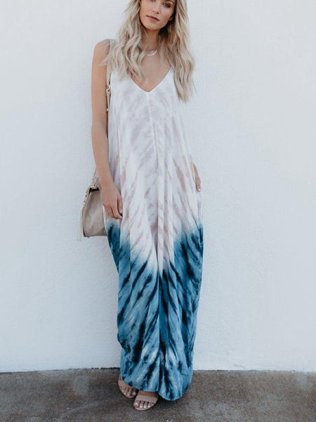 Bohemian Print V-Neck Sling Backless Maxi Dress