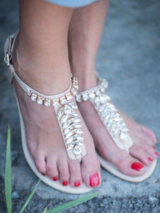 Summer Beach Flat Heel Clip Toe Sandals