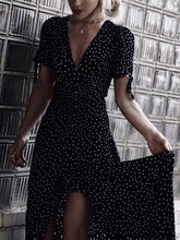 Load image into Gallery viewer, Polka Dot V Neck Short Sleeve Beach Dress
