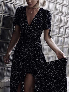 Polka Dot V Neck Short Sleeve Beach Dress