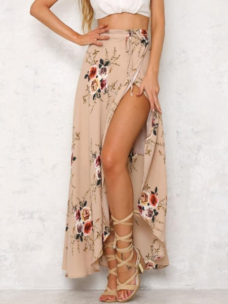 Flower Print Split High Waist Bohemia Skirt