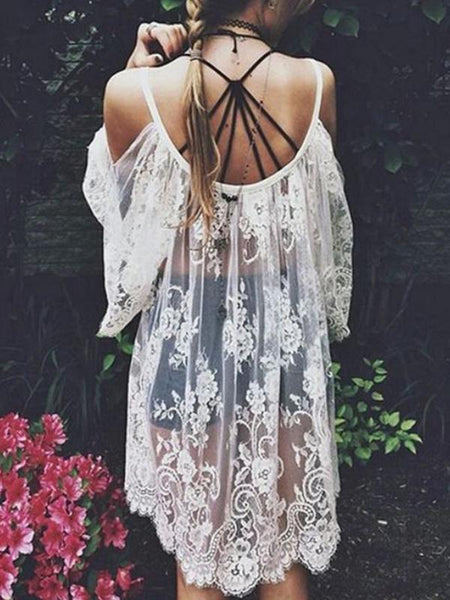 Vintage Hippie Boho Floral Lace Crochet Cover-Up