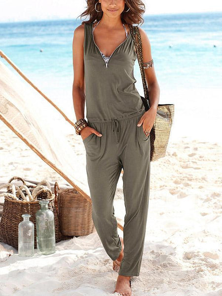 Solid Color Zipper Sleeveless Pockets Jumpsuit Romper