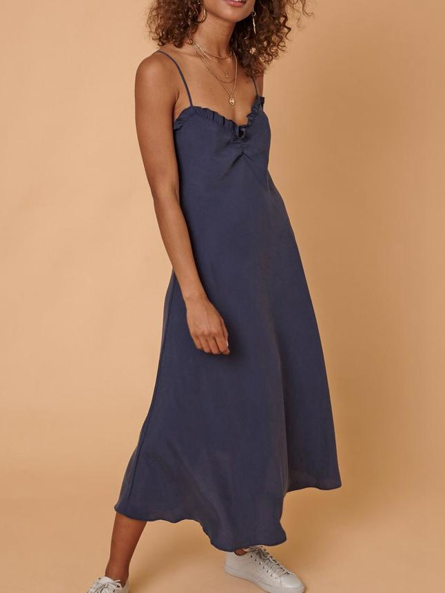 Spaghetti Strap Solid Color Casual Maxi Dress