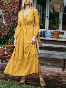 Yellow V Neck Long Sleeve Bohemia Maxi Dress