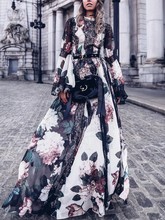 Load image into Gallery viewer, Floral Lace Long Sleeve Bohemia Maxi Long Dress