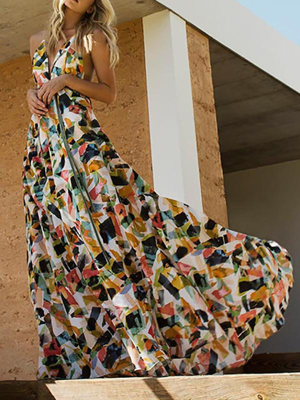 Print Hanging Neck Big Swing Backless Long Dress