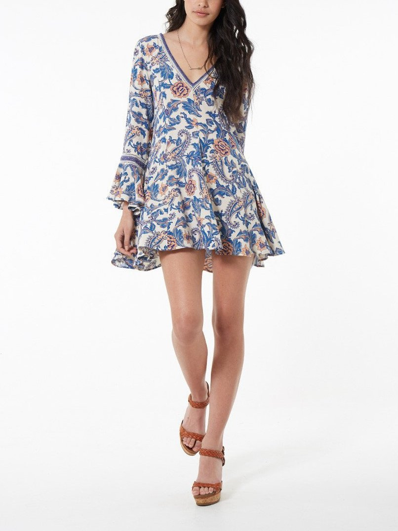 Floral V Neck Long Sleeve Beach Mini Dress