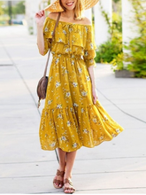 Load image into Gallery viewer, Floral Off Shoulder Chiffon Bohemia Dress