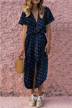 Load image into Gallery viewer, Polka Dot Short Sleeve Belted Beach Dress