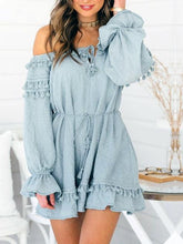 Load image into Gallery viewer, Off Shoulder Long Sleeve Tassel Mini Dress