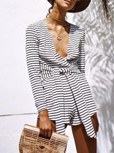 Load image into Gallery viewer, Stripe V Neck Long Sleeve Casual Rompers