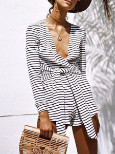 Stripe V Neck Long Sleeve Casual Rompers