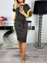 Load image into Gallery viewer, Solid Color Short Sleeve Belted Bodycon Midi Dress