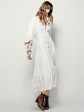 Load image into Gallery viewer, Popular Fashion Solid Color Half Sleeve V Neck Bohemia Beach Dress