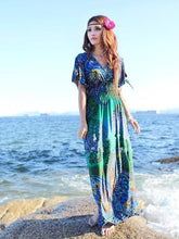 Load image into Gallery viewer, Bohemia Floral-Printed Short Sleeve V Neck Waisted Beach Long Dress