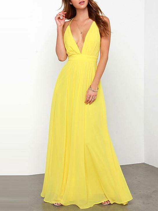 Simple Deep V-neck Backless Sleeveless Bohemian Maxi Dress