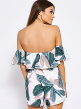 Load image into Gallery viewer, Printed Falbala Off-the-shoulder Backless Short Jumpsuits