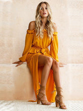Load image into Gallery viewer, Yellow Long Sleeve Off-the-shoulder Split-side Maxi Dress