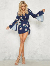 Load image into Gallery viewer, Floral Print V-neck Split Sleeves Mini Dress