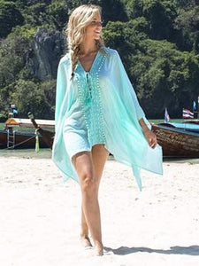 Printed Lace-Up Cover-Ups Swimwear