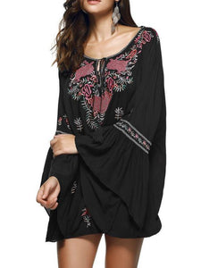 Bohemia Embroidered Tasseled Mini Dress