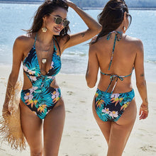 Load image into Gallery viewer, 2020 Women Summer Sexy Swimsuit Blue Print Cutout One Piece Jumpsuit
