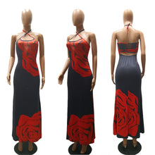 Load image into Gallery viewer, Sexy Printed Halter Side Split Maxi Dress