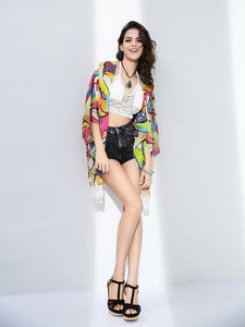 Attractive Colorful Half Sleeve Shawl Cover-up Tops