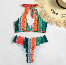Load image into Gallery viewer, Printed High-waisted Sexy Bikini Split Swimsuit Girl