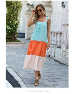 Bohmian Cool and Colorful Pleated New 2021 Dress Sling Mid-length Skirt Foreign Trade Women's JR040