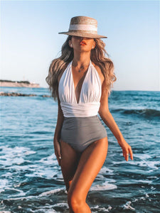 Sexy Color Matching Pleated One Piece Women's Bikini Swimsuit