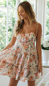 Spring and Summer New Holiday Style Sexy Printed Suspender Dress Bohemian Beach Skirt