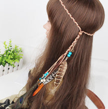 Load image into Gallery viewer, Bohemian Gypsy Handmade Peacock Feathers Beads Headwear Accessories