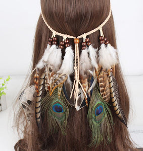 Gypsy Indian Hippie Bohemian Feather Hair Band Headwear