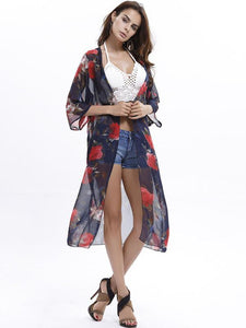 Elegant 3/4 Sleeve Beach Long Shawl Cover-up Tops