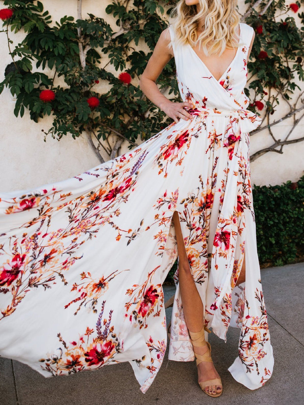 New Print V Neck Sleeveless Split Beach Maxi Long Dress