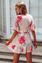 Load image into Gallery viewer, Floral Print Short Sleeve Short Mini Dress