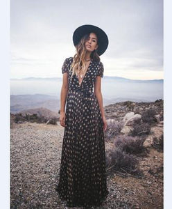 Print V Neck Short Sleeve Boho Maxi Dress