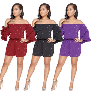 Polka Dot Off Shoulder Long Sleeve High Waist Jumpsuit Rompers