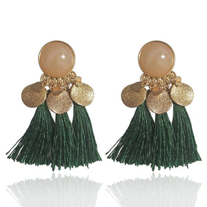 Geometric tassel earrings ethnic exaggerated retro wild tassel earrings