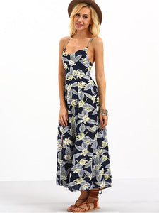 Popular Floral-Print Stripes Sleeveless Off-Back Side Split Beach Long Dress